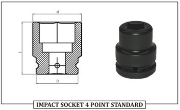 IMPACT SOCKET 4 POINT STANDARD