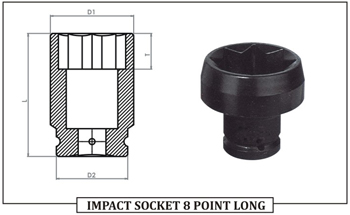 IMPACT SOCKET 8 POINT LONG