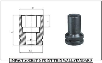 IMPACT SOCKET 6 POINT THIN WALL STANDARD