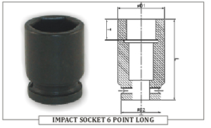 IMPACT SOCKET 6 POINT LONG