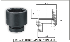 IMPACT SOCKET 6 POINT STANDARD