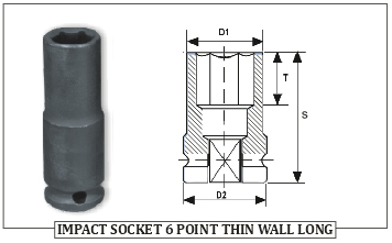 IMPACT SOCKET 6 POINT THIN WALL LONG